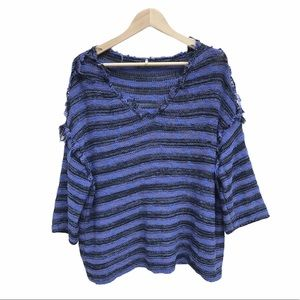 Free People Raw Seam Oversized Knit Blue Sweater M